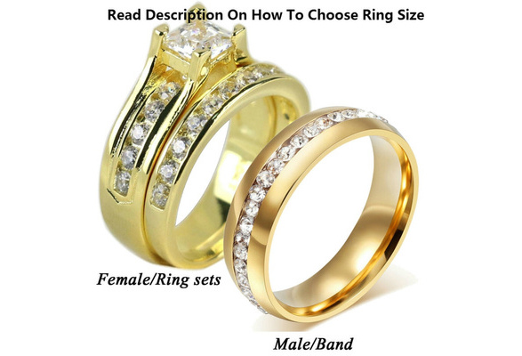 Wish Sz613 Couple Ring His Hers 2 PC Yellow Stainless Steel 10k