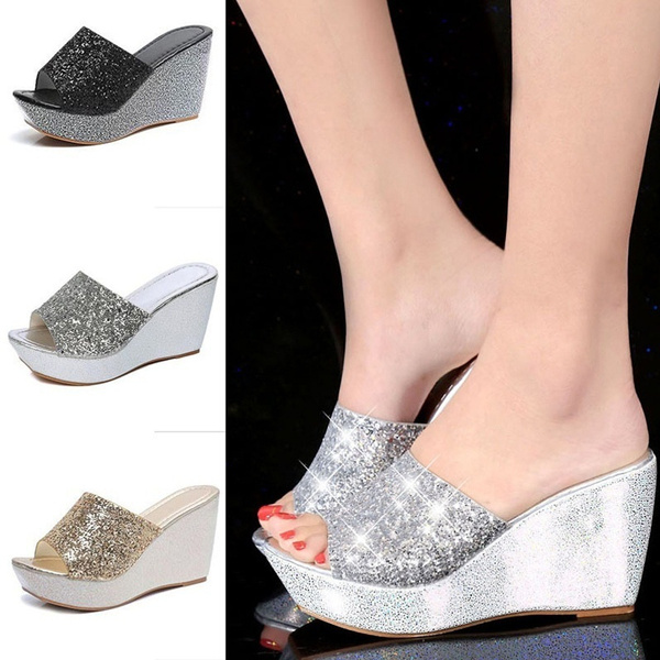 Picture of Women Summer Casual High Heel Wedge Skid Slippers Sandals Silver Bling Flip Flops Shoes