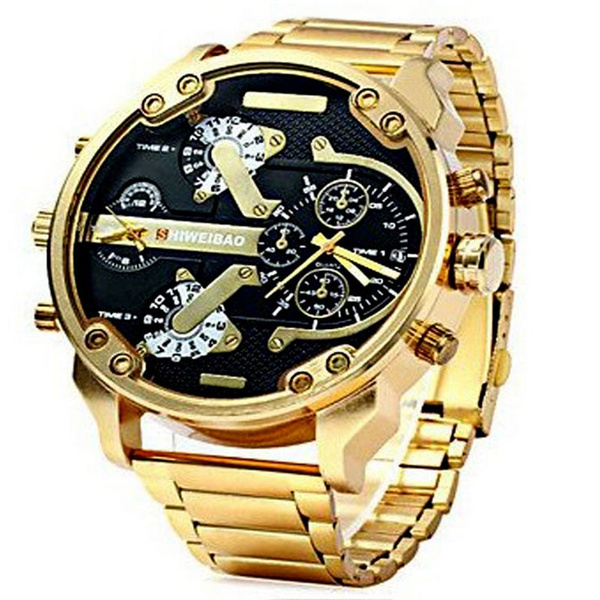 Picture of More Than Four Eyes Time Zone Business Gold Watchband Waterproof Quartz Watch