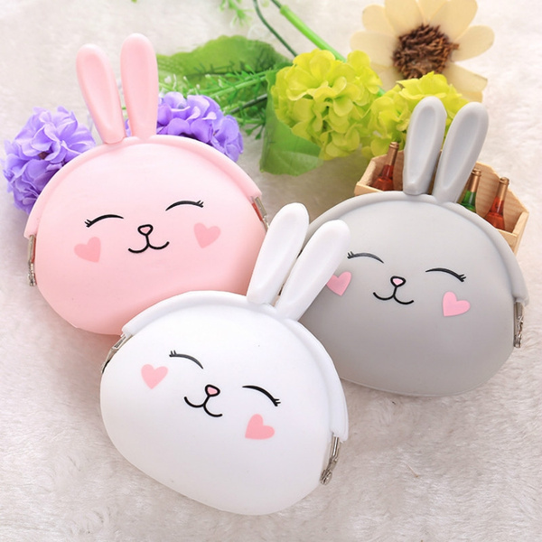 Picture of Women Girls Wallet Kawaii Rabbit Animal Silicone Jelly Coin Bag Purse