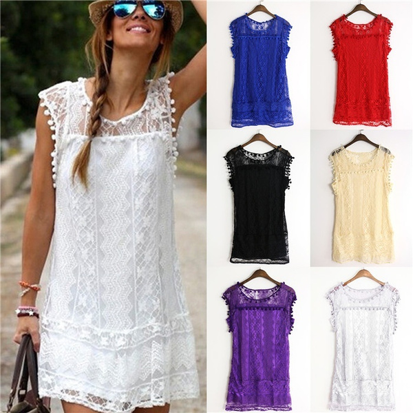 Mini Lace Dress Sexy Women Casual Sleeveless Dress Party Evening Cocktail Short Dress