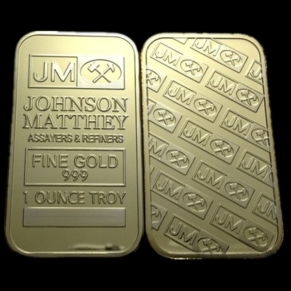 2 pcs/lot, The JM Johnson Matthey real gold plated American souvenir  replica bullion bar coin