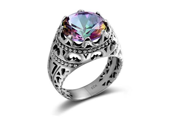 Brand New Luxury Women 925 Sterling Silver Jewelry Opal zircon Fashion wedding ring Size 6-10