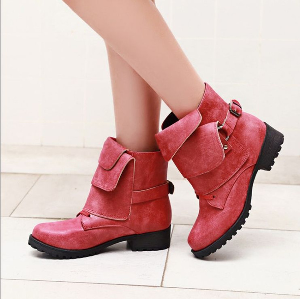 Picture of New Fashion Women Leather Buckle Combat Riding Ankle Boots