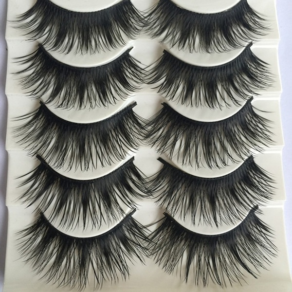 Picture of 5pairs Fashion Long Thick Eye Lashes Extension Cross Makeup Tool False Fake Eyelashes Size One Size