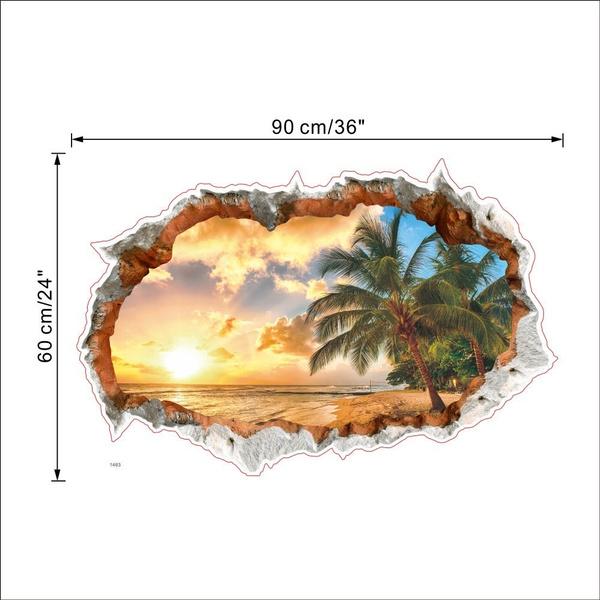 Výsledok vyhľadávania obrázkov pre dopyt Maikun Landscape Beach Sunset 3D Window View Removable Wall Sticker Art Vinyl