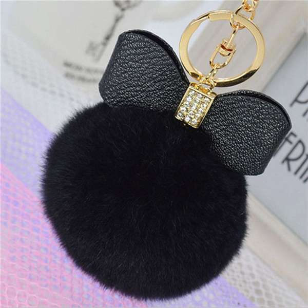 Rabbit Fur Pom-pom Key Chain Bag Charm Fluffy Puff Ball Bow Key Ring Car Pendant silvercream