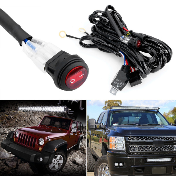 40A 300W Relay Fuse LED Light Bar Wiring Harness ON//OFF Switch for Off Road