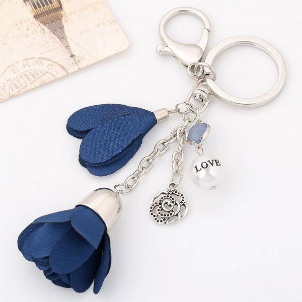 Cloth Beautiful Aesthetic Flower Car Key Ring Woman Key Chain Bag Pendant Jewelry Ornaments