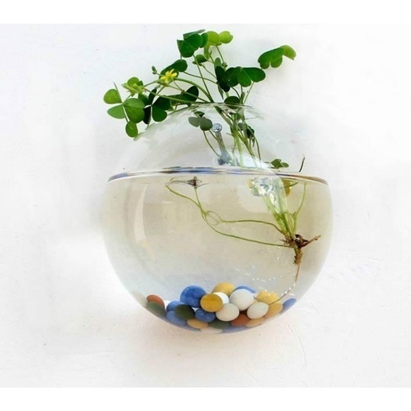 Wish Home Decor Wall Vase Ball Shape Glass Wall Hanging Vase And