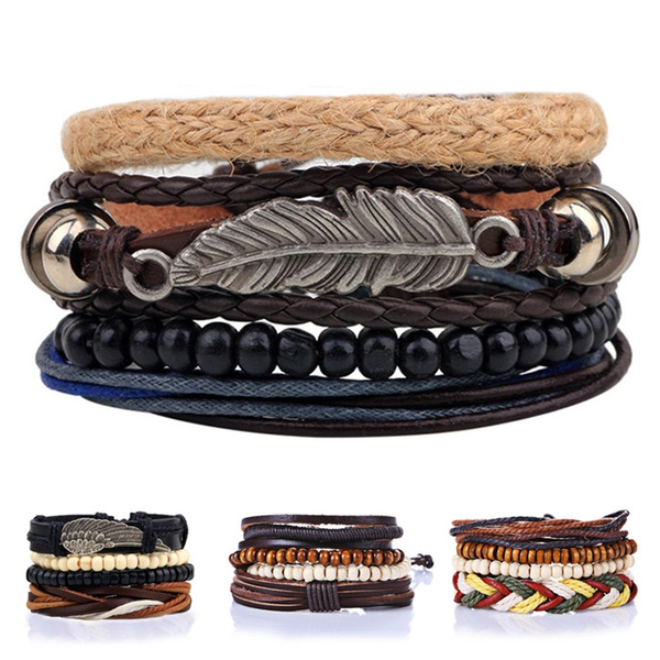 Picture of 1set/4pcs Retro Vintage Bohemian Style Wings Leaf Cuff Bracelet Wristbands For Men Women Multilayer Leather Beads Charm Braclet