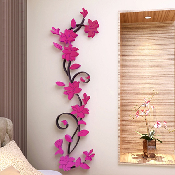 Fashion Home Decor Removable Acrylic 3D Rose Flower Wall Sticker Vinyl Art DIY Decal