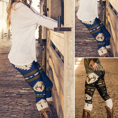 Women Christmas Reindeer Arrow Printed Leggings Pants