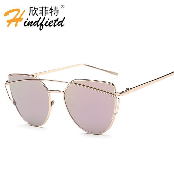 74b73d85f2 CandisGy Cat Eye Women Sunglasses 2016 New Brand Design Mirror Flat ...