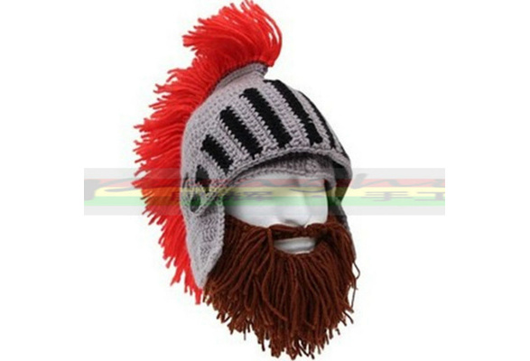 2a2da6b1e08 Red Tassel Cosplay Roman Knight Knit Helmet Men s Caps The Original  Barbarian Handmade Winter Warm Beard Hats Ski Funny Beanies