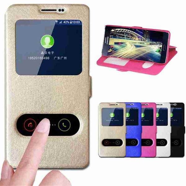 Picture of For Iphone 7 7 Plus 5 5s Se 6 6s Plus /Samsung Galaxy S5 S6 S6 Edge Plus S7 S7 Edge Note 3/4/5 E5 E7 On5 On7 J5 J7 A3 A5 A7 A8 A310 A510 A710 Luxury Silk Pattern Smart Flip Cover Holster Double Window Protection Shell Mobile Phone Bag Case