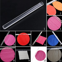 165x13mm Handmade Silicone Non-Stick Fondant Cake Rolling Pin Mould Kitchen Tool