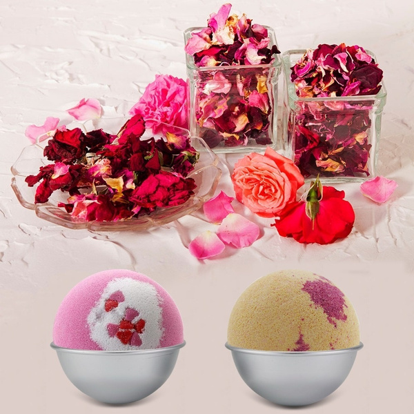 Picture of Hot Selling 2 Pcs Metal Aluminum Alloy Bath Bomb Mold 2pcs 3d Ball Sphere Shape Diy Bathing Tool Accessories Creative Mold