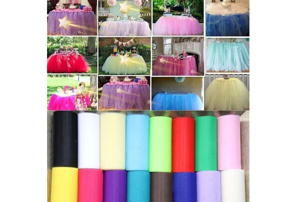 New Fashion 6inchesx 25YD Pure Color Tulle Roll Spool Tutu Dress Fabric Craft Wedding Party Home Gift Box Wrap Decor