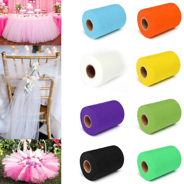 Picture of Fashion Diy 6x 25yd Pure Color Tulle Roll Spool Tutu Dress Fabric Craft Wrap Decor For Wedding Party Home Gift Box