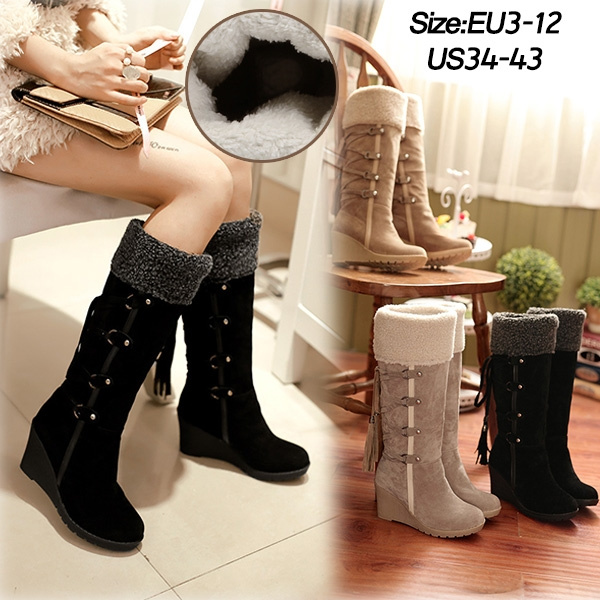 e1268c29d48 Fashion Scrub Plush Snow Boots Women Knee high Slip Resistant Boots Thermal  Female Cotton Padded Shoes Warm Suede Fringe Wedge Heel Tassels Strappy ...