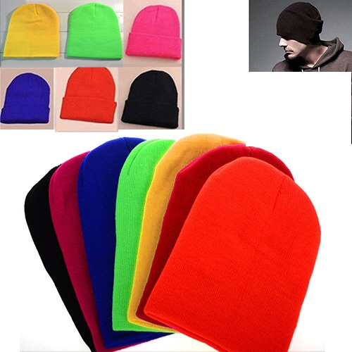 cfd5732e7 Women Men New Winter Solid Color Plain Beanie Knit Ski Cap Skull Hat Cuff  Blank Beany Skully toboggan