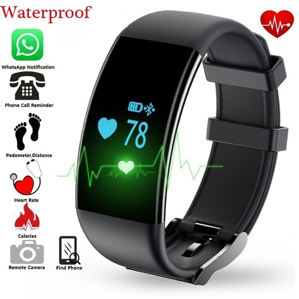 Smart Bracelet Bluetooth 4 0 Heart Rate Monitor Fitness Tracker IP68  Waterproof for Android and iOS
