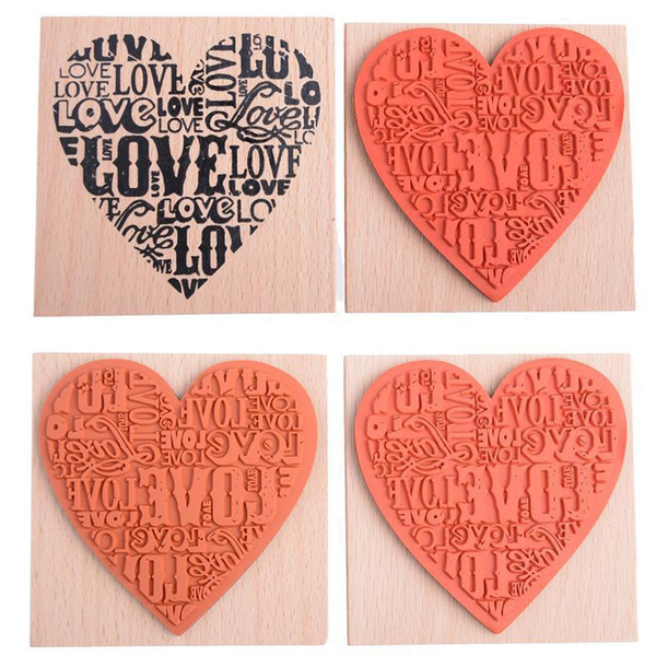 Wooden Rubber Love Heart Stamp For Diary Scrapbooking Card Making DIY Craft new