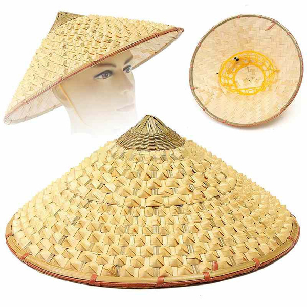 bfd2c7f37f75c7 Pack of 2 Traditional Chinese Adult Oriental Bamboo Straw Cone Garden  Fishing Hat Adult Rice Hat | Wish