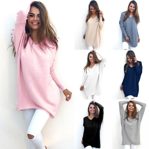 Fashion Autumn Winter Dress Womens V-Neck Loose Knitted Oversized Baggy  Sweater Jumper Tops Dress Outwear Plus Size S-XL Vestidos