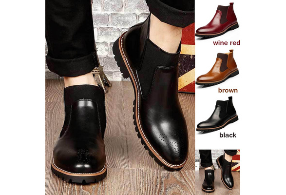 2016 Black/Red/Brown British Style Men's Ankle Boots,High Quality Genuine Leather Chelsea Boots,Bullock Rubber Sole Chelsea Shoes