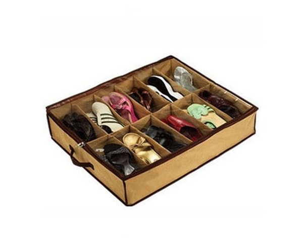 US/UK trendy 12 Pairs Shoes Organizer Holder Intake Under Bed Closet Storage Box Wish