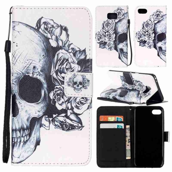 Picture of Black Skull Painted Pattern Flip Cover Holster Pu Leather Wallet Card Holder Drop Resistance Mobile Phone Bag Case With Lanyard For Ls770 Ls775 /Iphone 5 5s Se 6 6s 6plus 6s Plus/samsung Galaxy Note7 S4 S5 S6 S6 Edge S6 Edge Plus S7 S7 Edge J3 J310 J5 J510 J7 J710 G530 G360