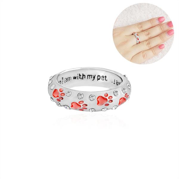 Fashion pet dog claw rhinestone ring