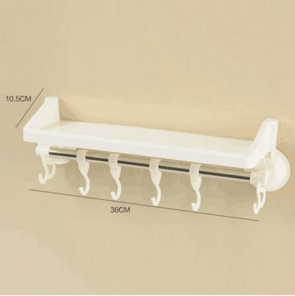 Bathroom Tidy Wall Mounted Suction Cup Rack Holder Hooks Organiser Shelf