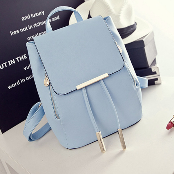 Picture of Fashion Pu Leather Backpack School Bag Student Backpack Women Travel Bag With Golden Metal Zipper Uk Stock