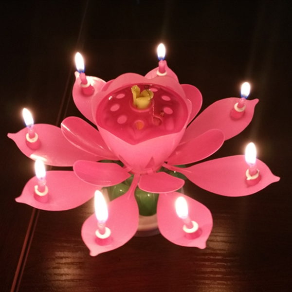 Music Lotus Flower Candle Musical Happy Birthday Rotating Blossom Cake Candles Party Decoration Supply Velas De Cumpleanos