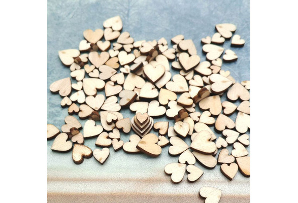 100PCS Mixed Rustic Decoration Table Scatter Wedding Decor Wooden Love Heart Crafts Accessories