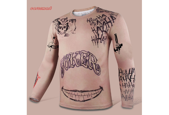 Suicide Squad T-Shirt Joker Tattoos Costume Sublimation Long Sleeve T-Shirts New