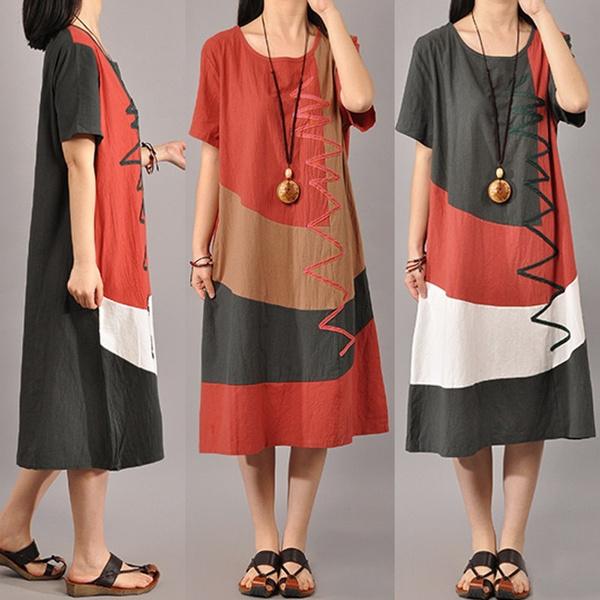Summer, Plus Size, Shirt, long dress