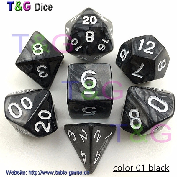 HOT!!DND Marbled Red dice with gold number Set of 7