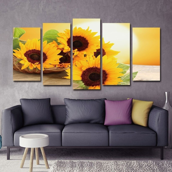 Sunrise Landscape Wall Painting Sunflower Picture Canvas Prints For Living Room Decor Artwork Paintings Bedroom Home Decoration No Frame