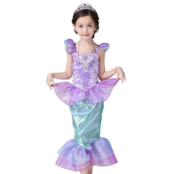 Girls Kids Dress Cosplay Bling Mermaid Princess Pageant Party Cosplay Costume