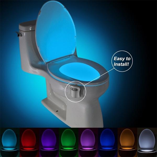 Wish 8 colors human motion sensor toilet light bathroom night light mozeypictures Images