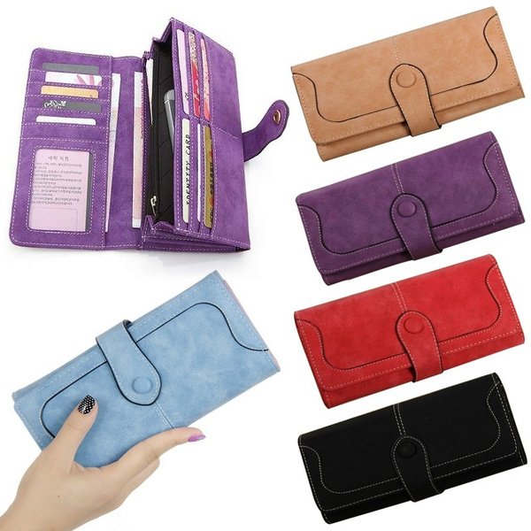 Picture of Women Lady Fashion Retro Matte Stitching Wallet Long Card Holder Purse Handbag Clutch Coin Bag Case