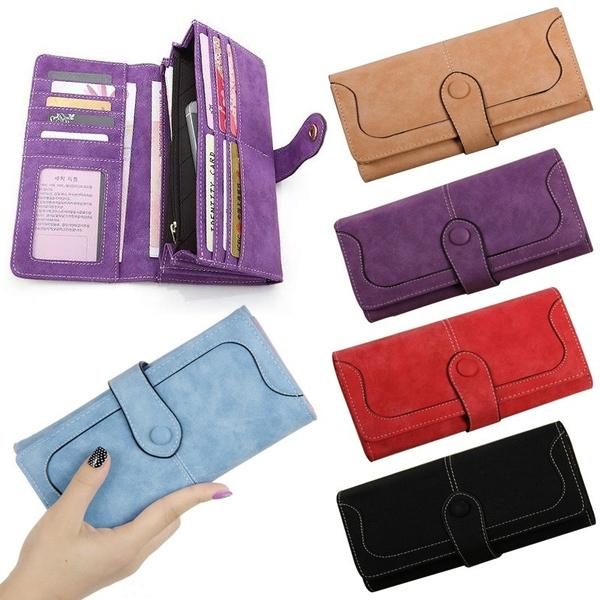 Picture of Women Lady Fashion Retro Matte Stitching Wallet Long Card Holder Purse Handbag Clutch Coin Bag Case