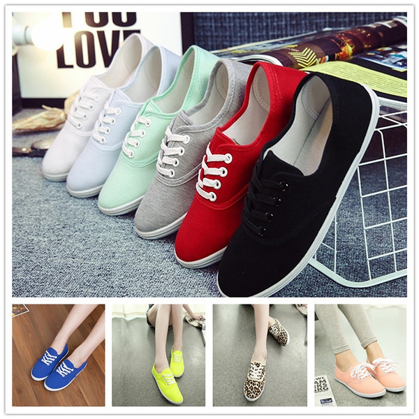 Picture of New Women Fashion Canvas Shoes Spring Autumn Flat Shoes Lace Casual Breathable Shoes Size4-11