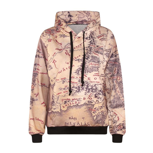 New Fashion Harajuku Women Men Pocket Hoodie Middle Earth Map Sweatshirt 3D  Printed Hoodies Punk Sweatshirts Jumper Outfits Casual Sweaters