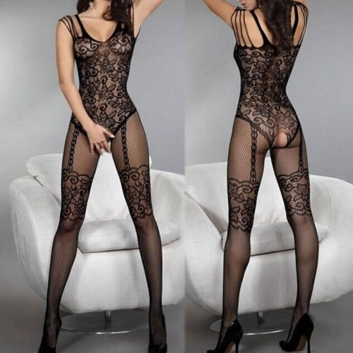 55bdda50049 Lady Charming Sexy Open Crotch Stockings Crotchless Fishnet Sheer ...