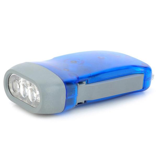 Crank Hiking Camping Tool Dynamo Powered LED Hand Pressing Flashlight Torch